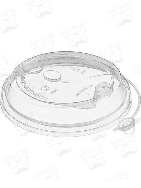 Крышка для бумажных стаканов флип-топ с питейником 80 мм (Прозрачная)